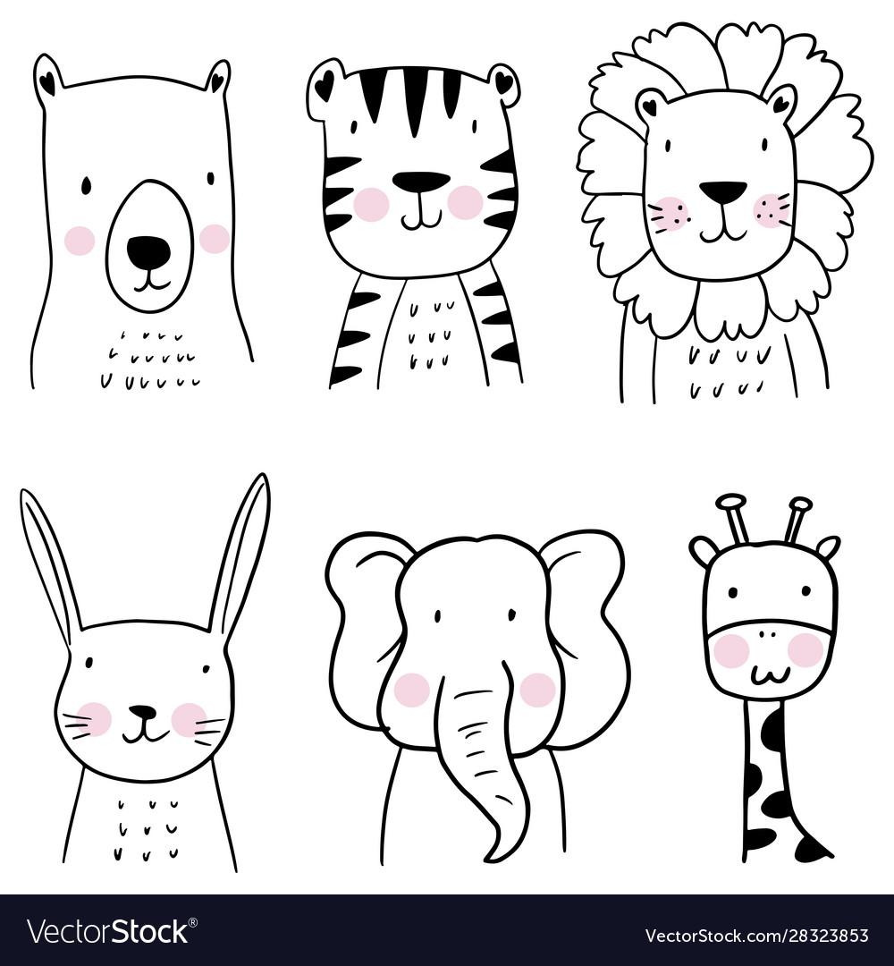 Set hand drawn cute animals children