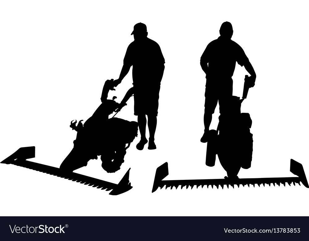 Set of different people with mowers