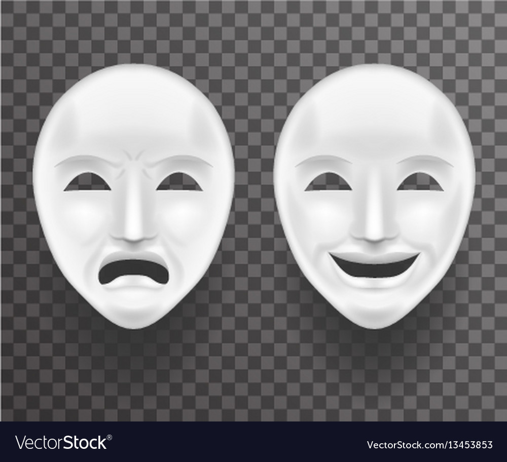 Theatrical mask sadness and joy white actor play