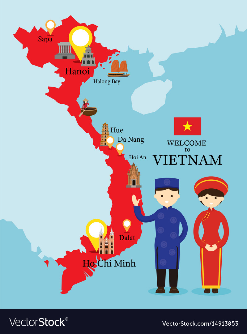 Vietnam map and landmarks with people in