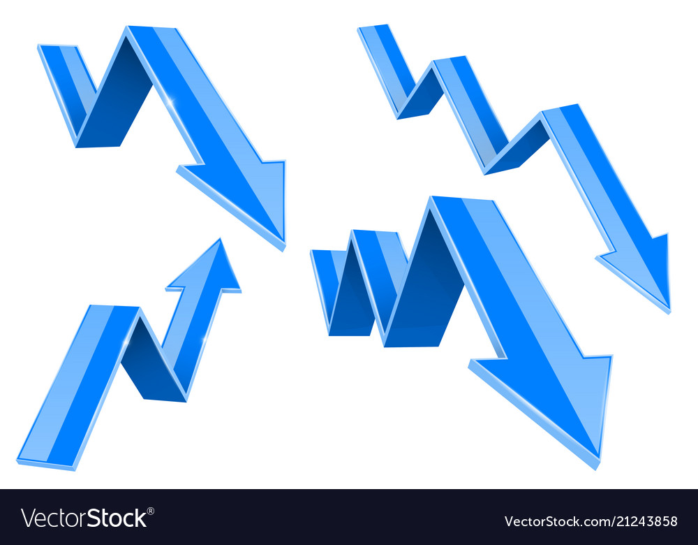 Blue 3d up and down arrows financial graph