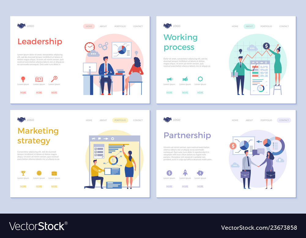 Business landing pages web design ui template