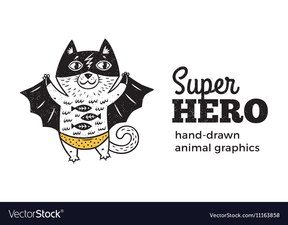 Cat in Superhero costume character isolated on vector image
