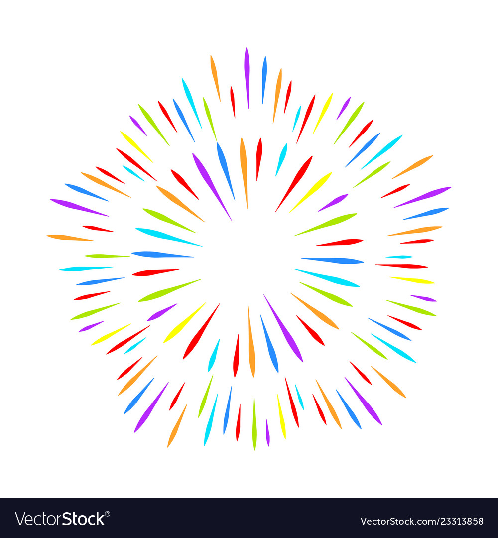 Colorful fireworks on white isolated background