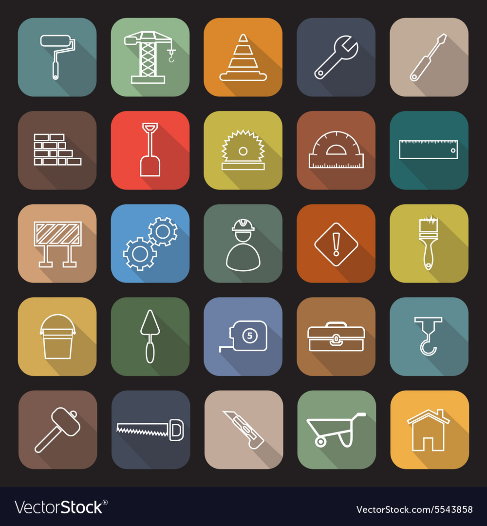 Construction line flat icons with long shadow vector image