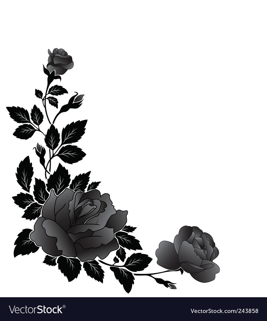Corner Rose Design Vector Image