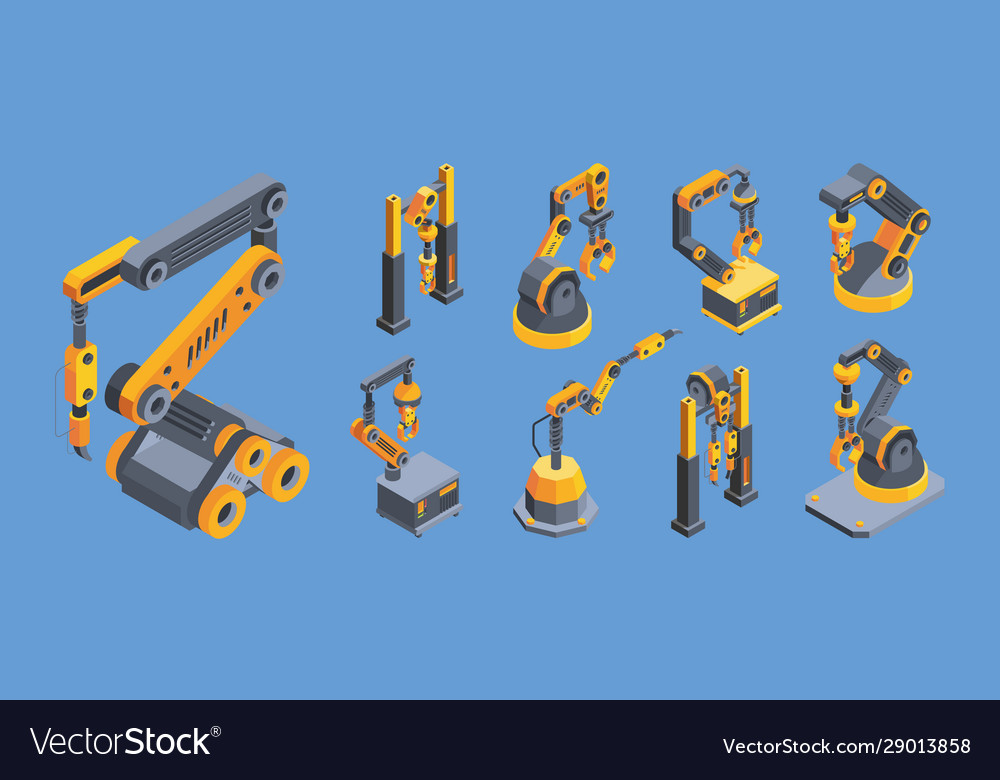 Crane machines colorful isometric