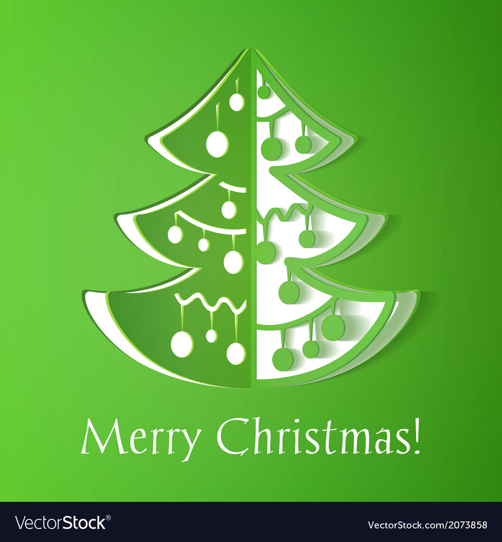 Christmas Tree Made Out Of Paper: Green Paper Cut-out Christmas Tree Royalty Free Vector Image