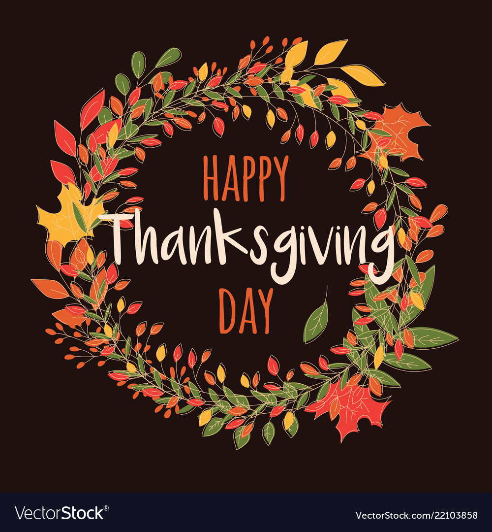Happy thanksgiving day card with floral