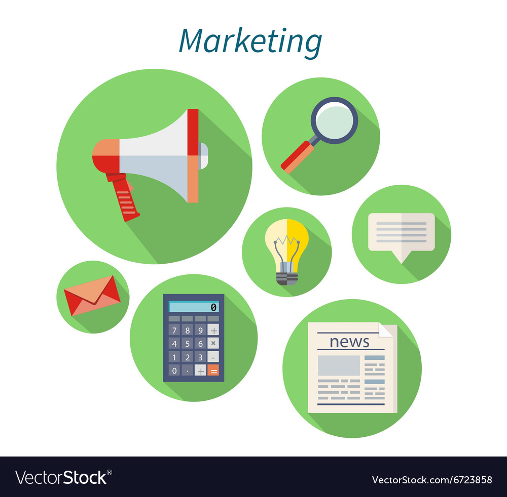 Marketing Concept Flat Design Icon vector image