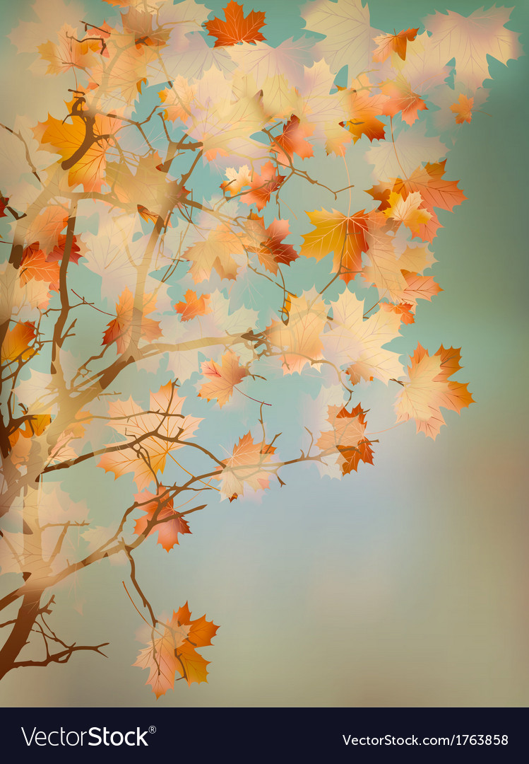 Orange leafs on vintage colored blue sky EPS 10