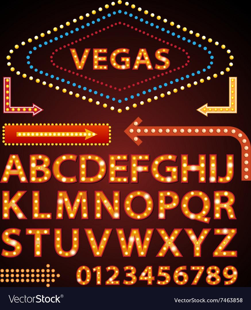 Orange neon lamp letters font show vegas
