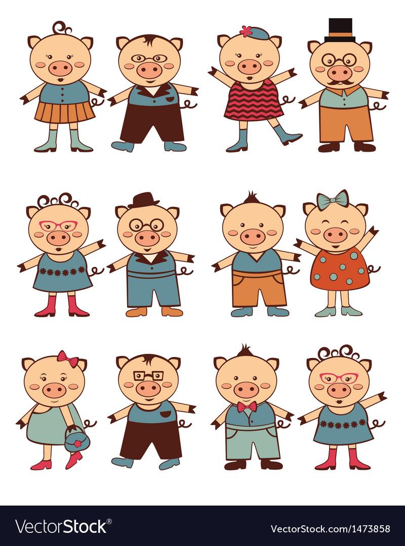 Piggi couples vector image