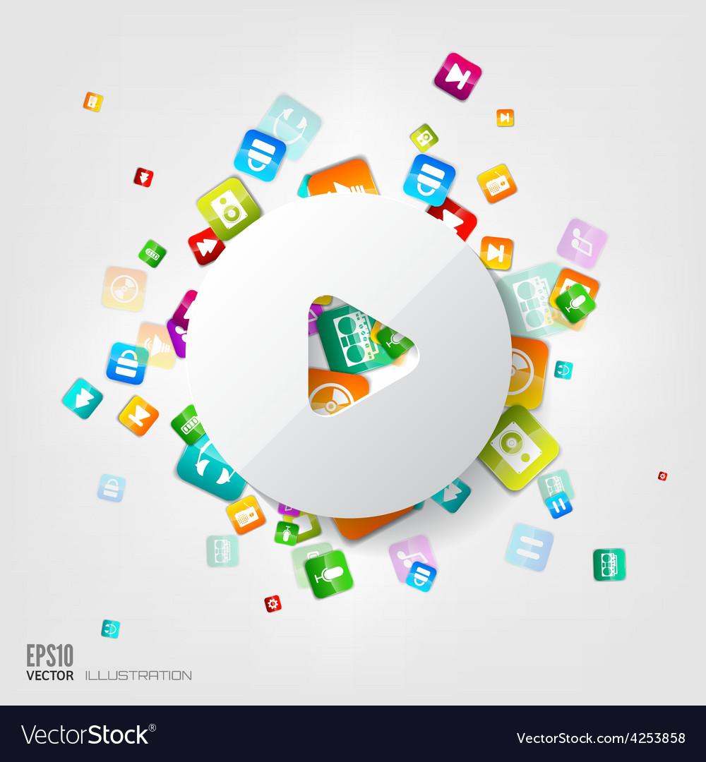 Play button icon Application buttonSocial media