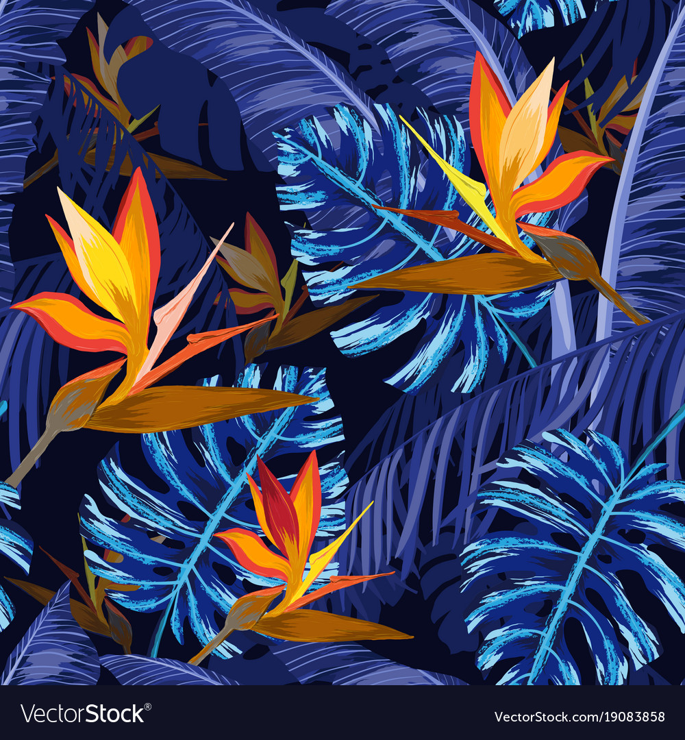 Seamless Pattern With Blue Tropical Flowers Vector Image