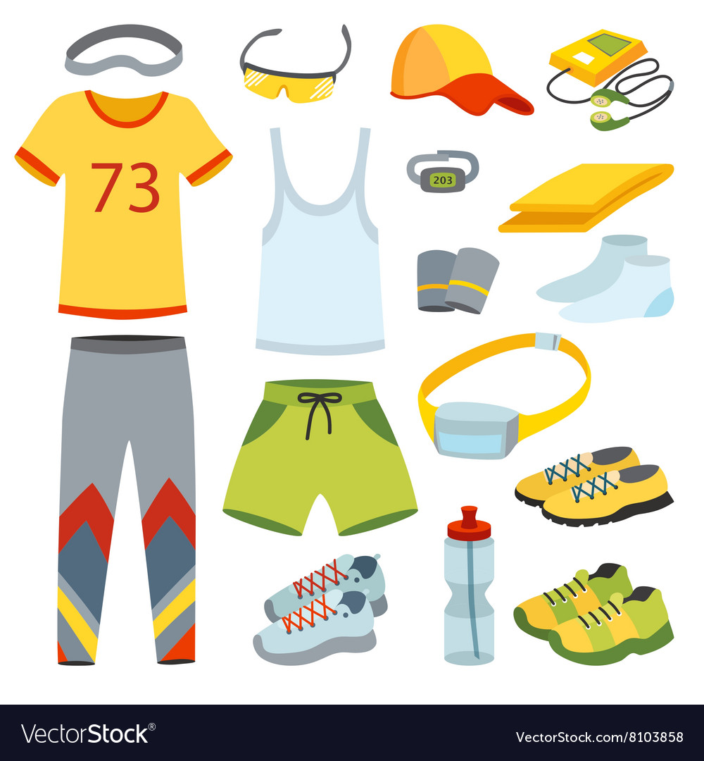 top view running clothes cartoon flat royalty free vector