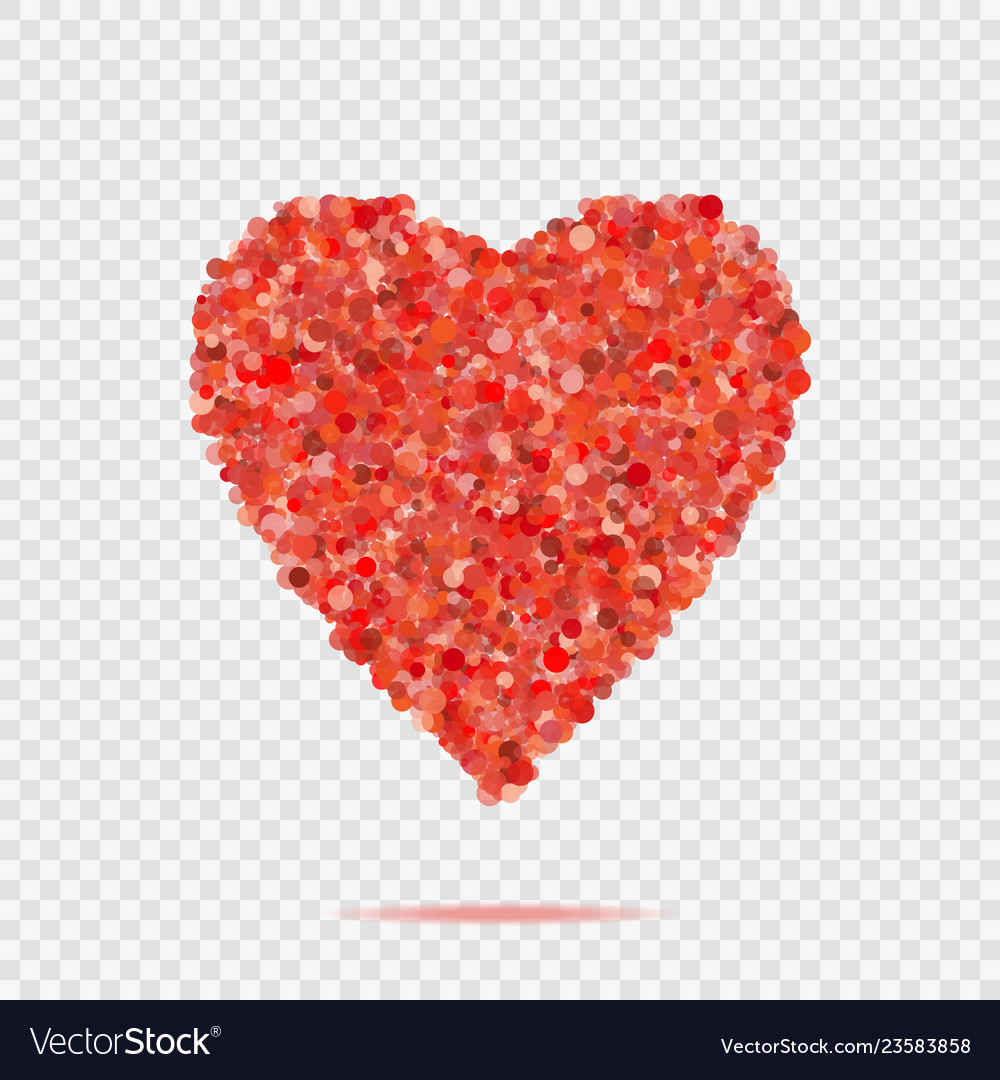 Valentines red heart shape with many dots