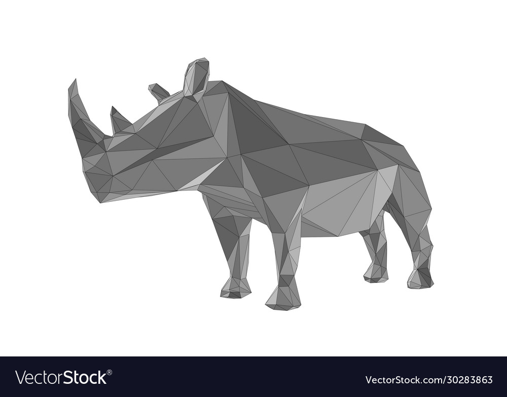 Abstract rhinoceros isolated