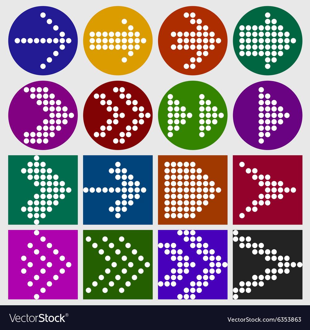 Arrow sign dots icon set