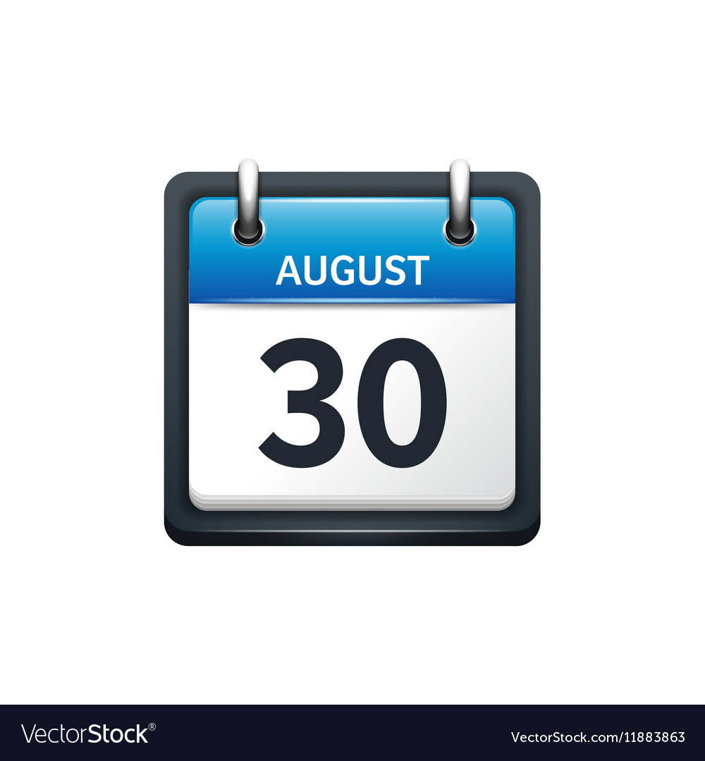 August 30 Calendar icon flat