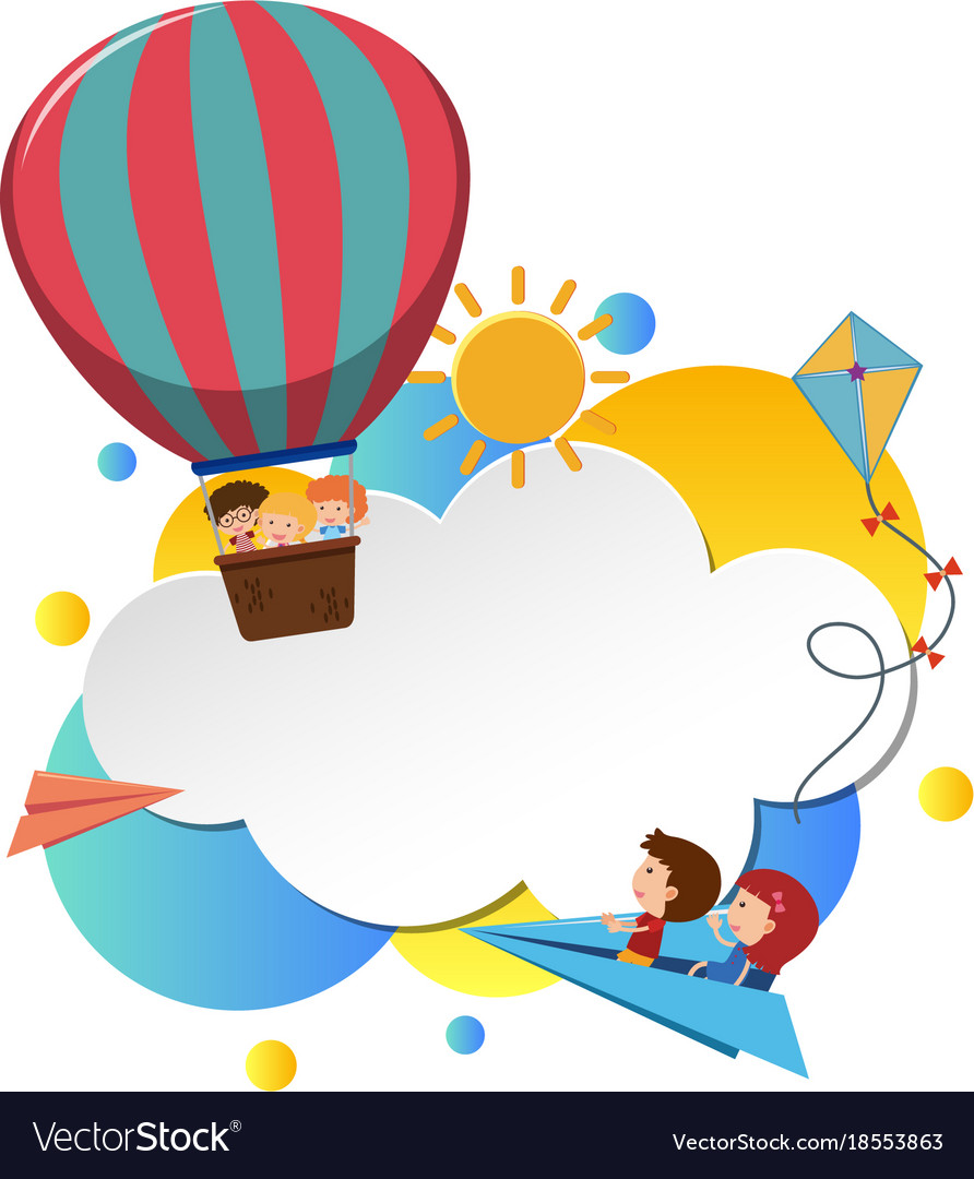 Border template with kids in balloon Royalty Free Vector
