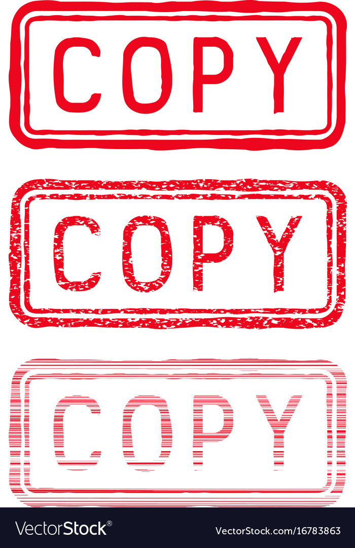 Copy stamp red rectangular impress