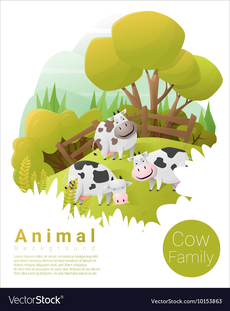 Cute animal family background with Cows 2