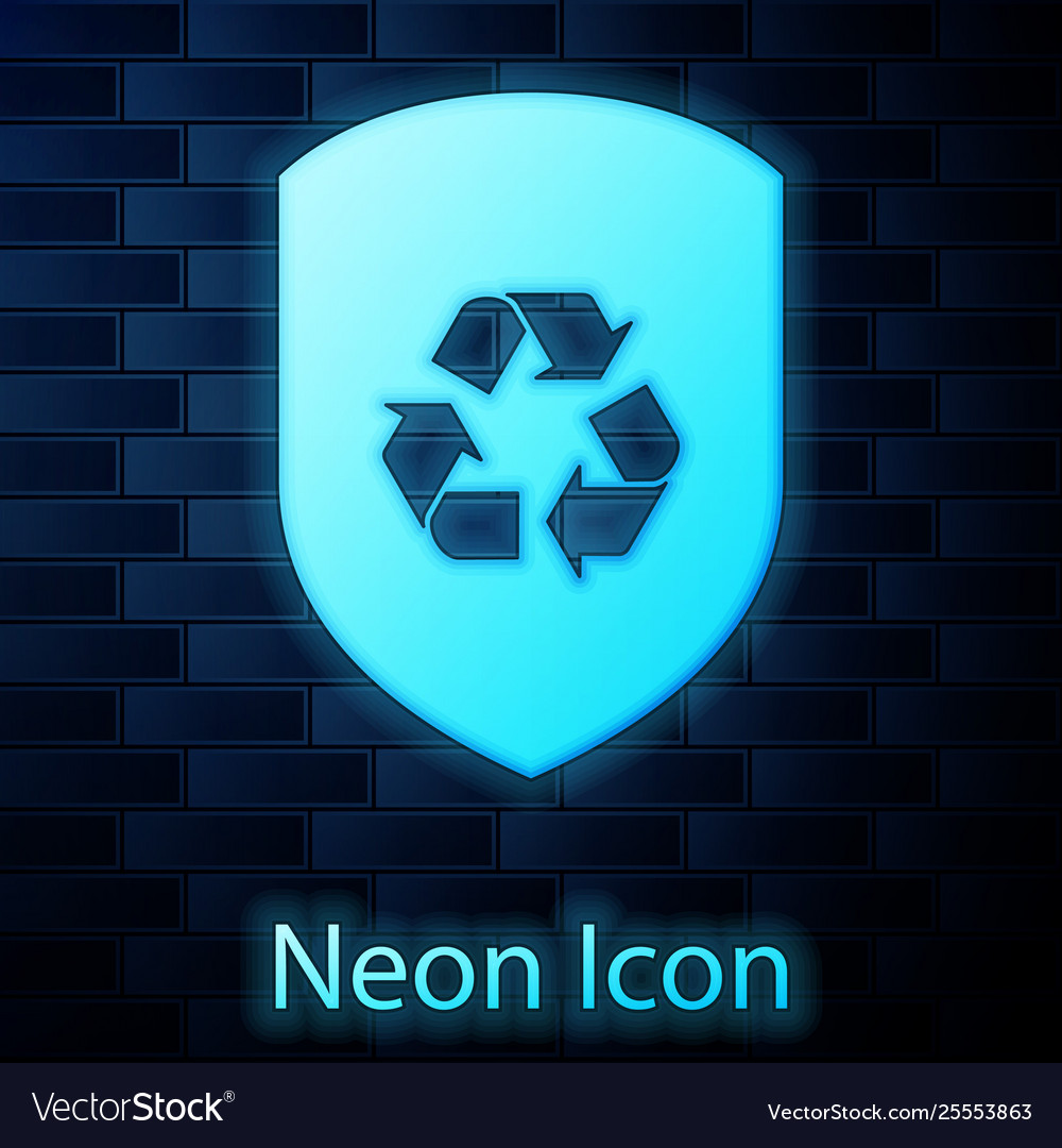 Glowing neon recycle symbol inside shield icon