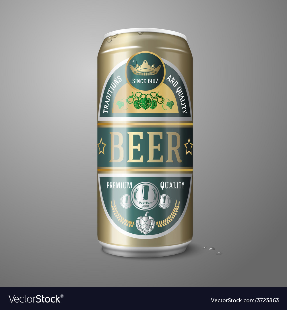 Golden beer can with label isolated on gray