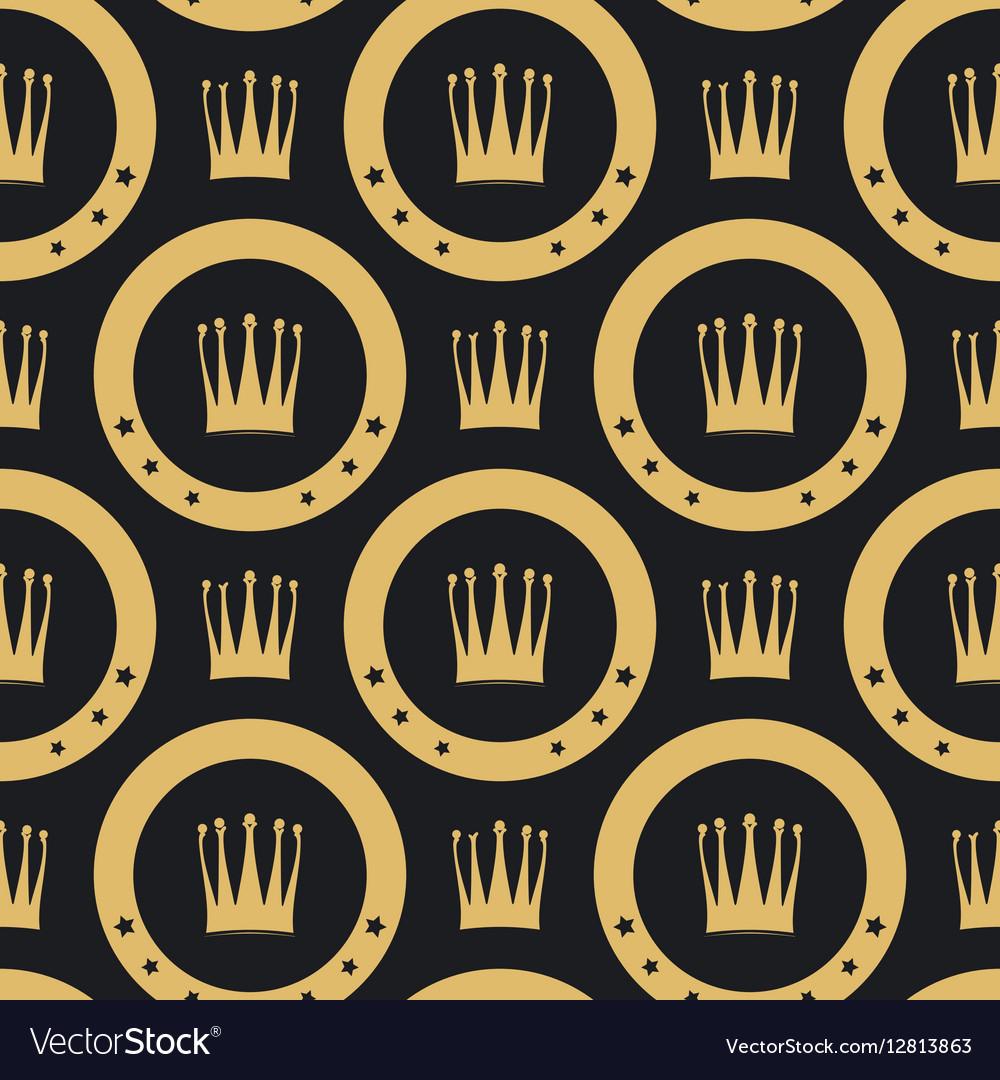 Golden crown seamless pattern