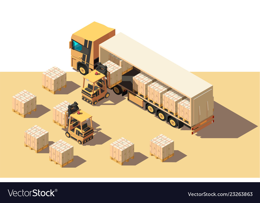 Isometric 3d shipment truck with forklift and box