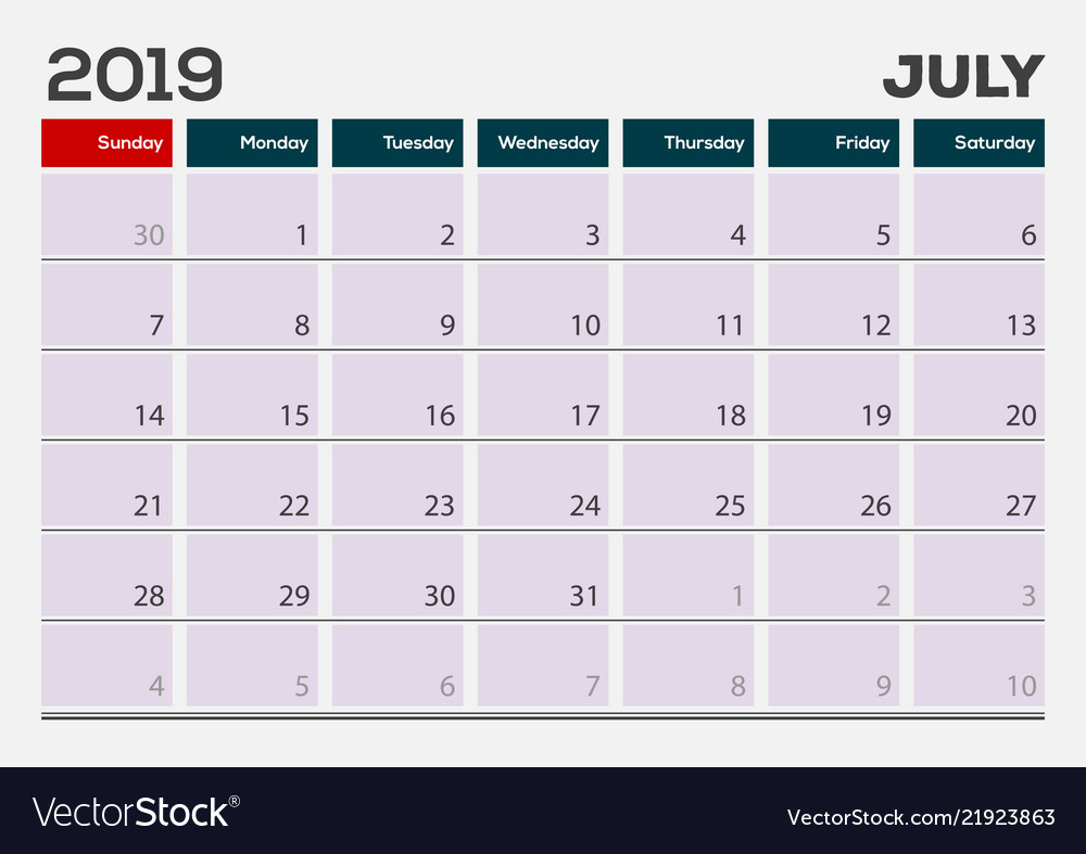 calender of july 2019
