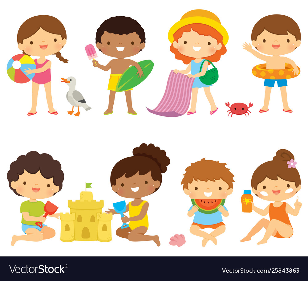 Kids at beach clipart set vector