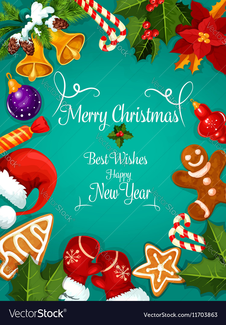 Merry Christmas New Year best wishes greeting Vector Image