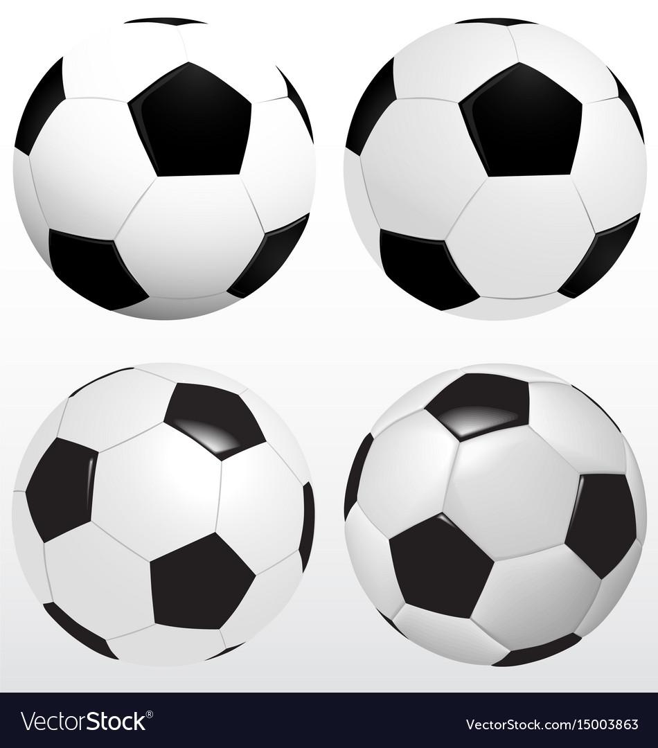 Set of soccer ball football on white background