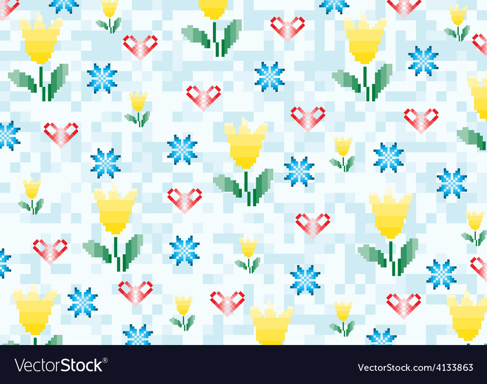 Spring flowers on a background with pixels