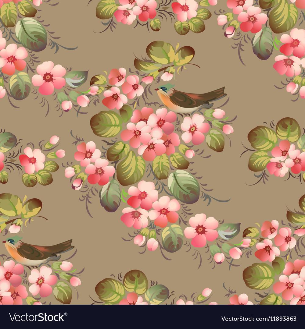 Trendy Seamless Flower Pattern with birds