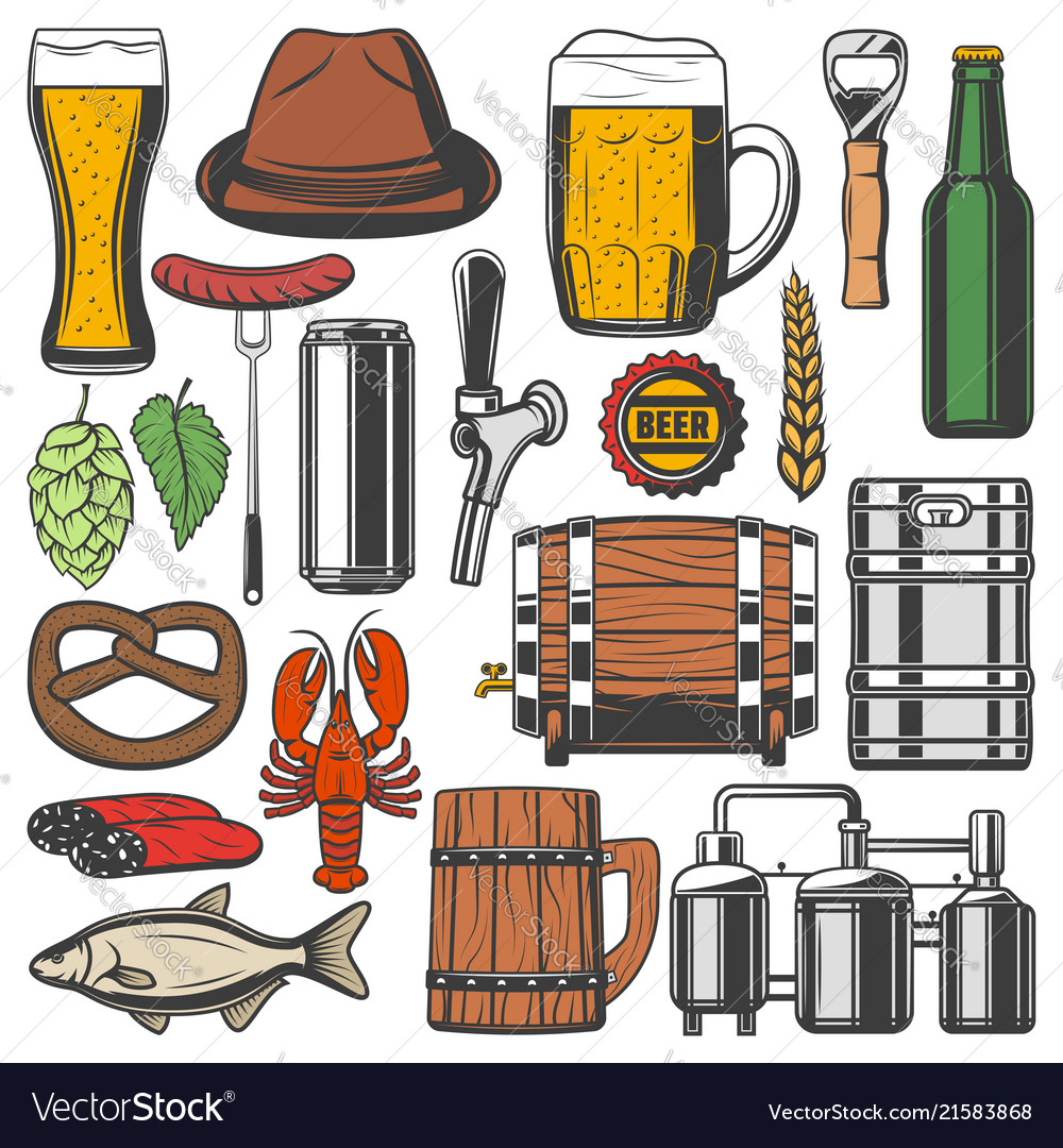 Beer bottle alcohol drink glass and mug icons