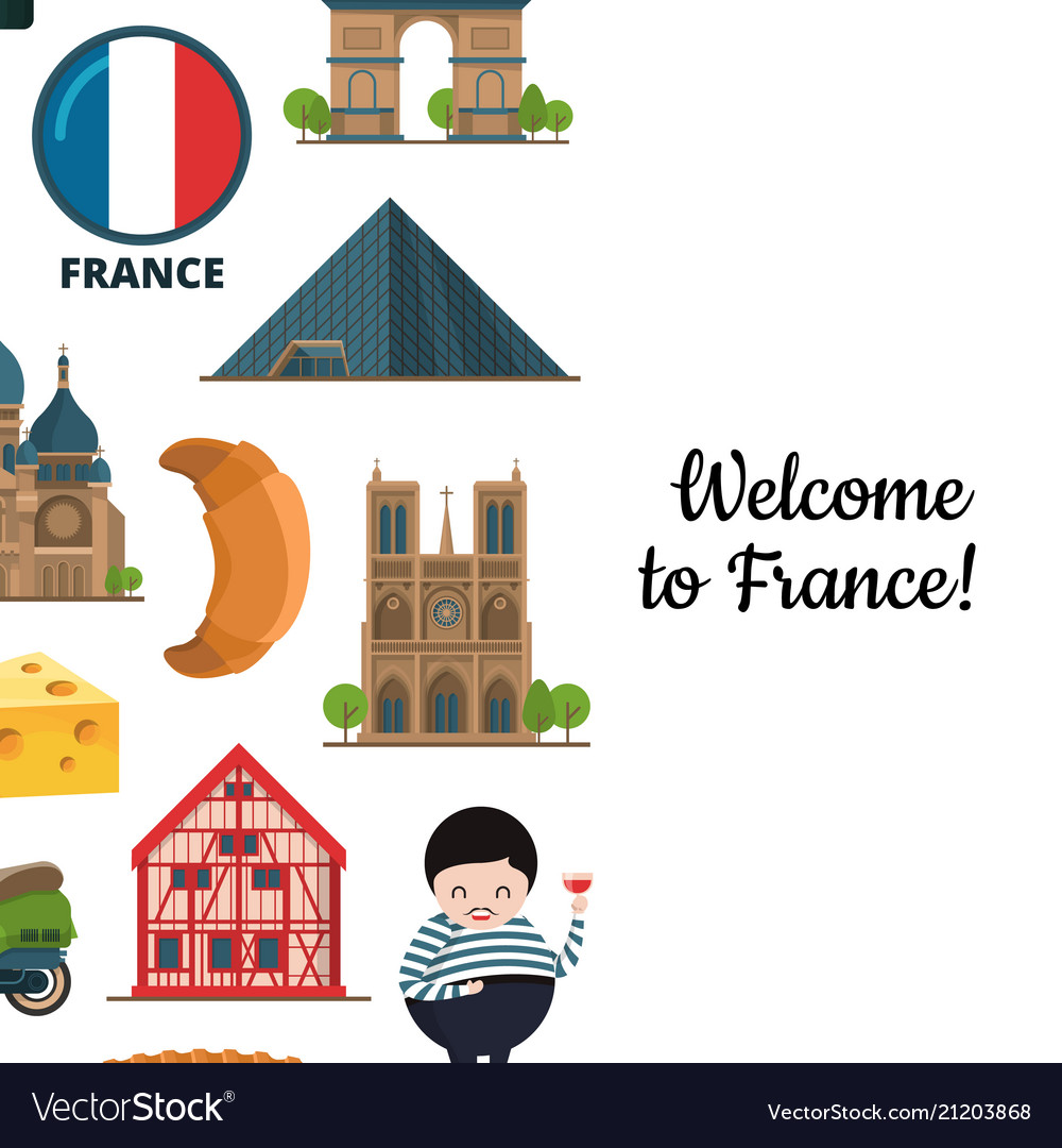 Cartoon france sights and objects
