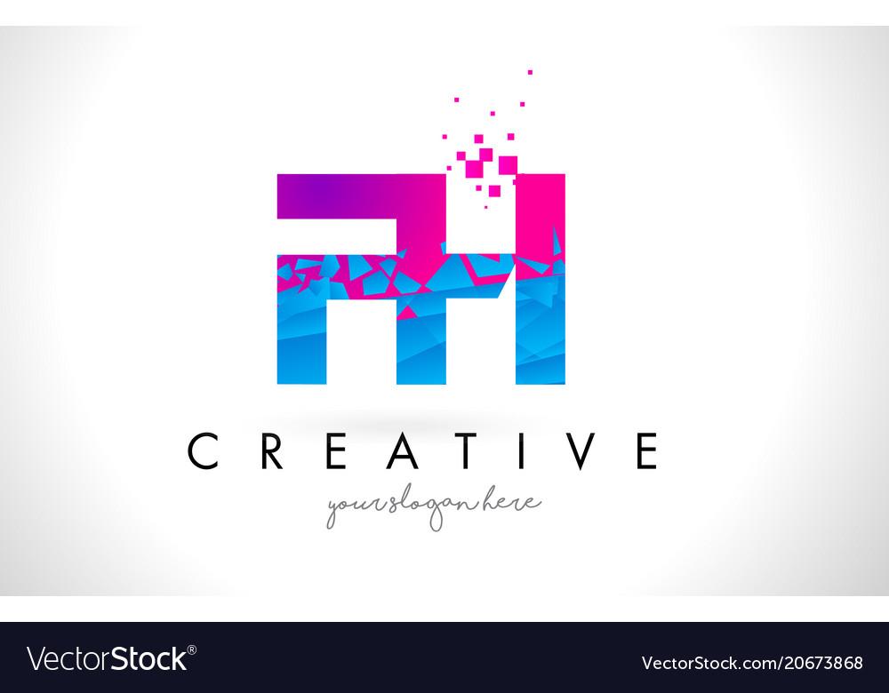 Fh f h letter logo with shattered broken blue