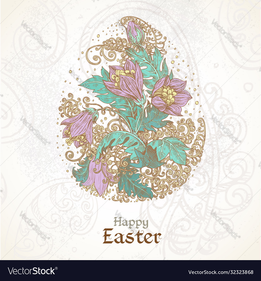 Happy easter vintage color background