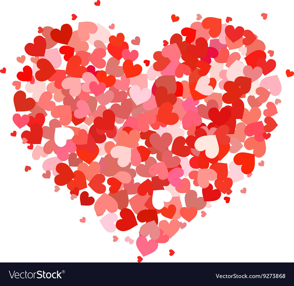 Heart made up of little pink and red hearts on