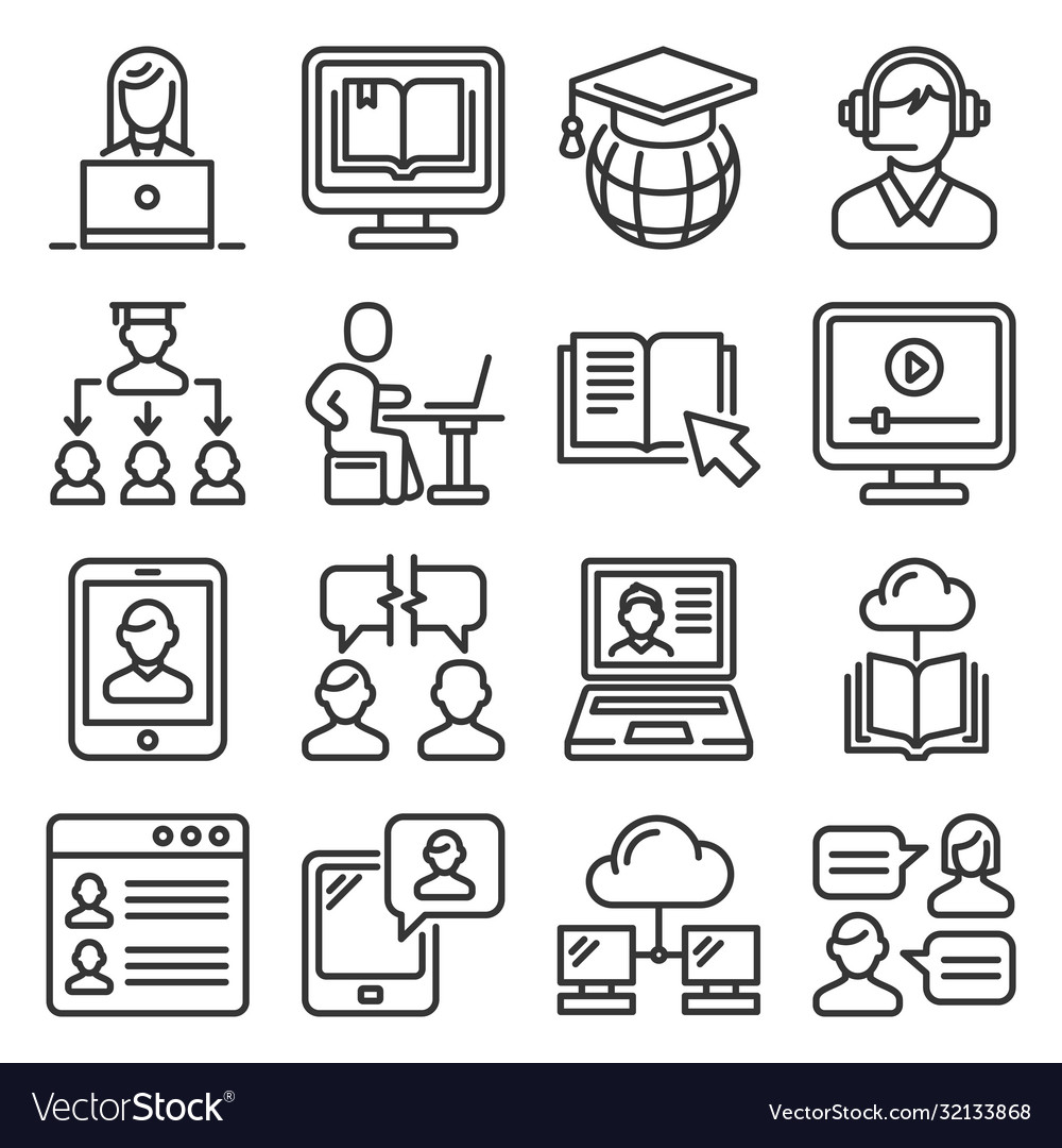 Online education icons set line style