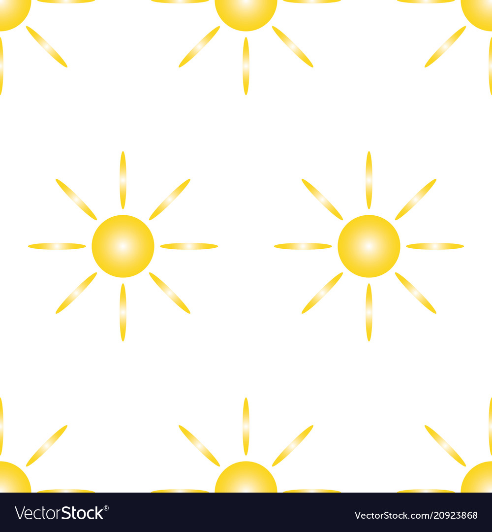 Seamless pattern from yellow sun and eight rays