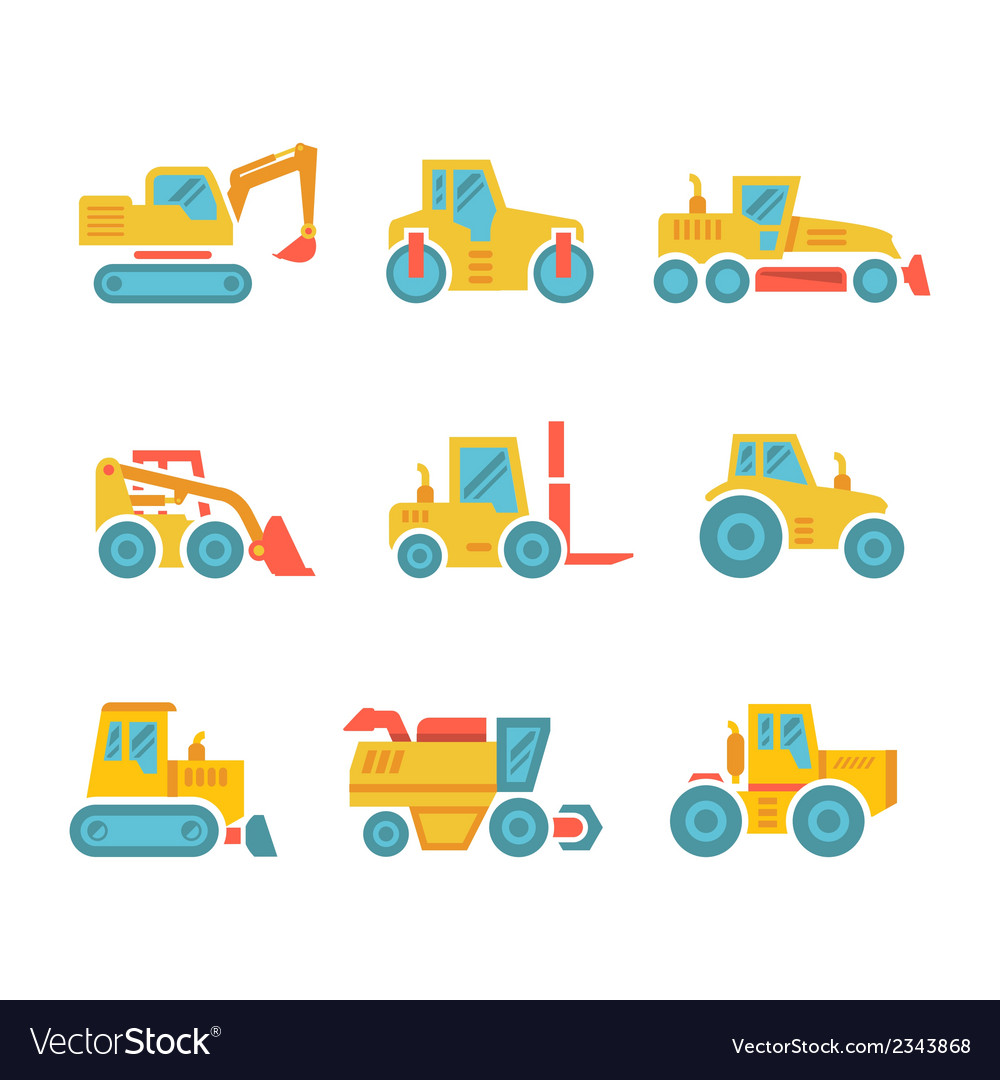 Set modern flat icons of tractors farm machines