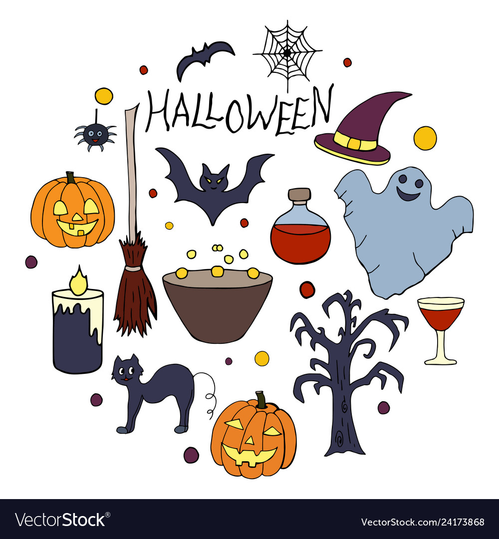 Set of hand drawn elements for halloween party on