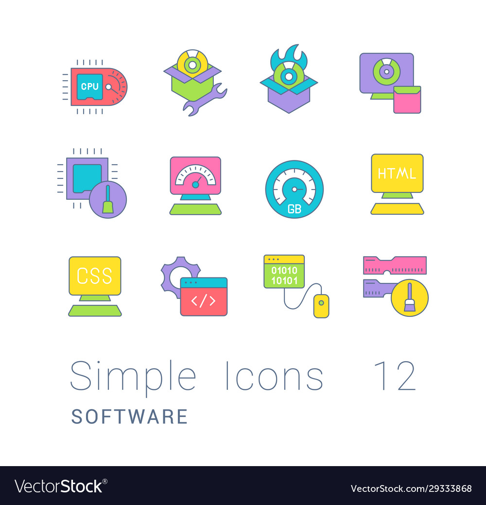 Set simple line icons software
