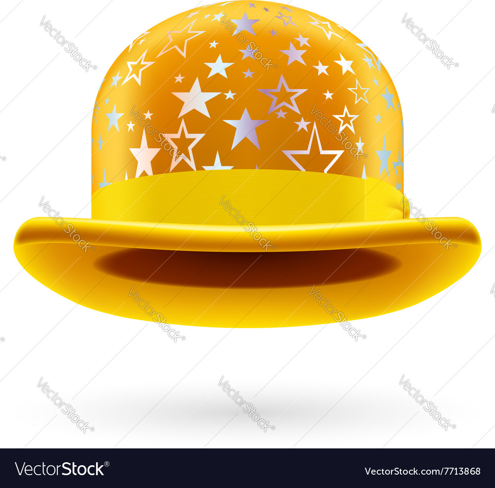 Yellow starred bowler hat Royalty Free Vector Image ce826073d88