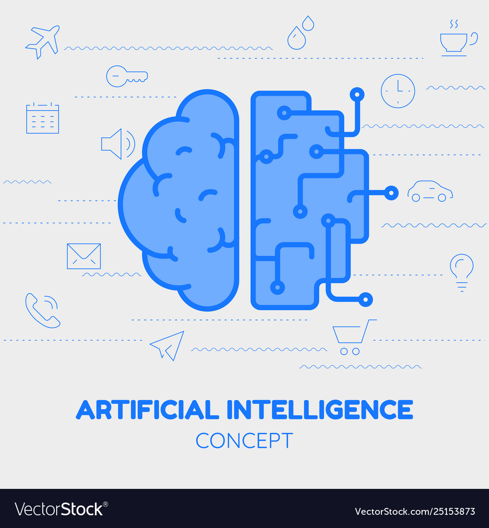 Artificial intelligence concept trendy linear