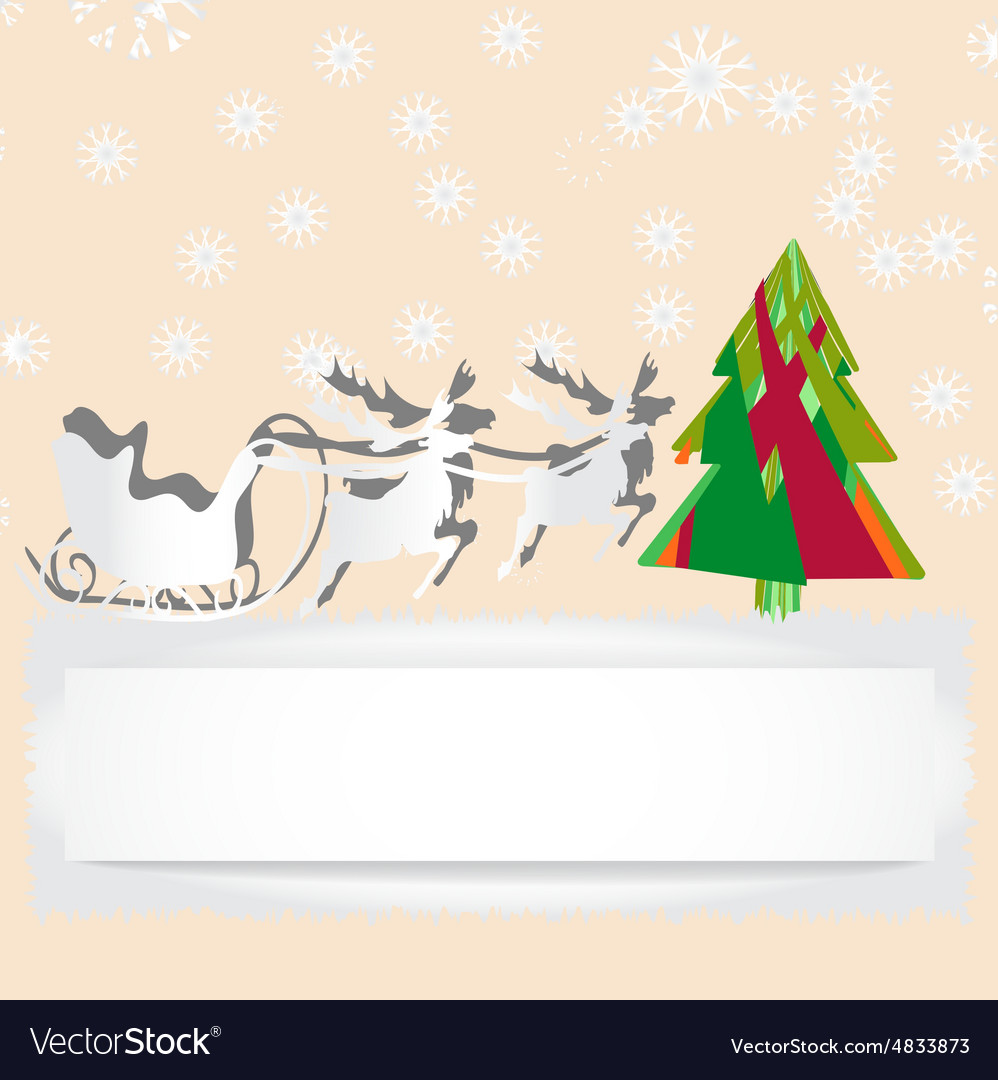 Christmas card with reindeer and tree